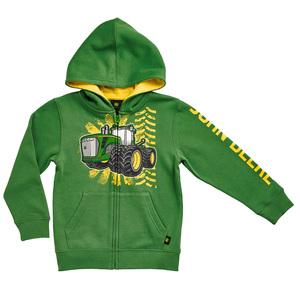 Boys Green Burst Zip Hooded Sweatshirt