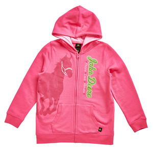 Youth Magenta Horse Zip Hooded Sweatshirt