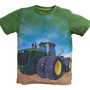 Boys Field Tractor Photo Graphic T-Shirt