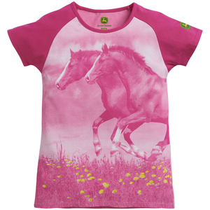 Youth Girls 7-12 Horse Photo Graphic Raglan T-Shirt