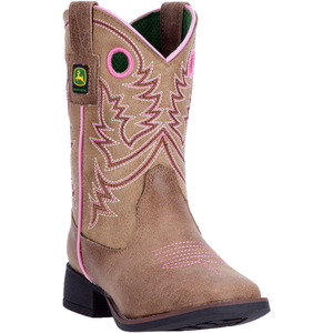 Child Square Toe Tan Boot With Pink Stitching