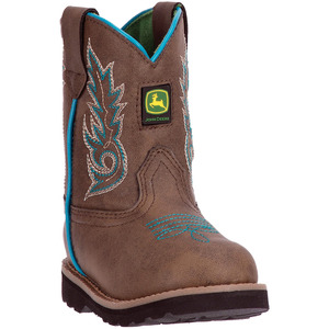 Toddler Round Toe Turquoise Trim Boot
