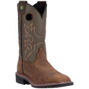 Mens Western Tan And Olive Work Boot