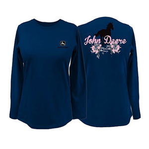 Womens Navy Horse Flowers Tee
