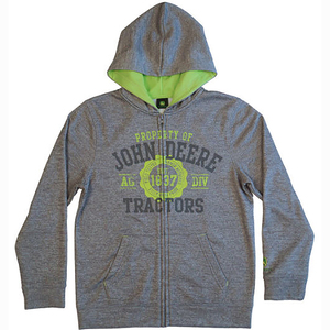 Gray Zip Up Fleece Hoodie