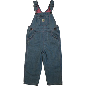 Toddler Girls Denim Overalls with Pink Trim