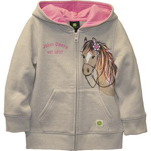 Pony with Flower Fleece Zip Up Hoodie