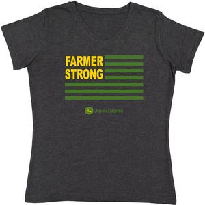 Heather Black Farmer Strong V-Neck T-Shirt