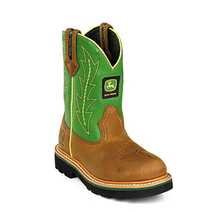 Children's Green Leather Wellington Boot