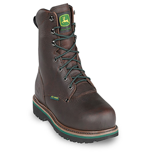 "Men's 8"" Dark Brown Internal Met Guard Lace-Up Steel-Toe Boots"