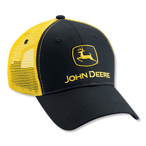 Black John Deere Hat with Yellow Mesh Back