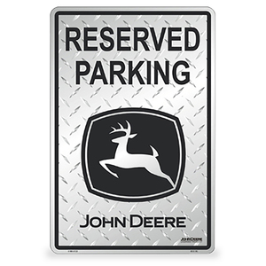 John Deere Silver Diamond Plated Reserved Parking Sign