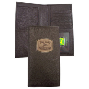 Brown Check Book Wallet With Historical Logo