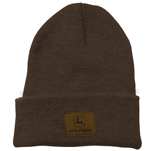 Men's Brown Beanie With Sueded John Deere Logo Patch