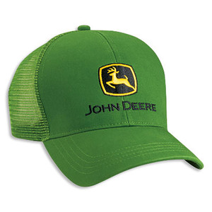 Men's Green Twill John Deere Hat With Mesh Back