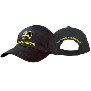 Men's Black Twill Cap With John Deere Construction Logo