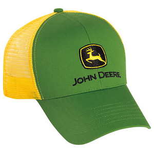 Men's Green Twill and Yellow Mesh Cap