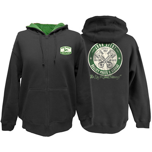 "John Deere Men's Full Zip Hooded ""Quality Parts and Service"" Sweatshirt"