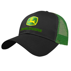 Men's Cap With Black Front and John Deere Green Mesh Back