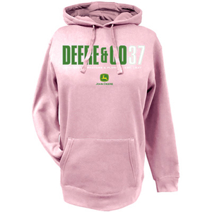 John Deere and; Co 37 Ladies Pink Hooded Pullover Sweatshirt