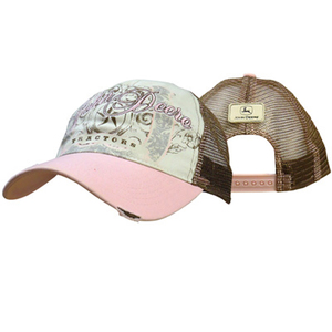 Women's Pink Cap With John Deere Scrollwork Logo Printed in Metallic Ink