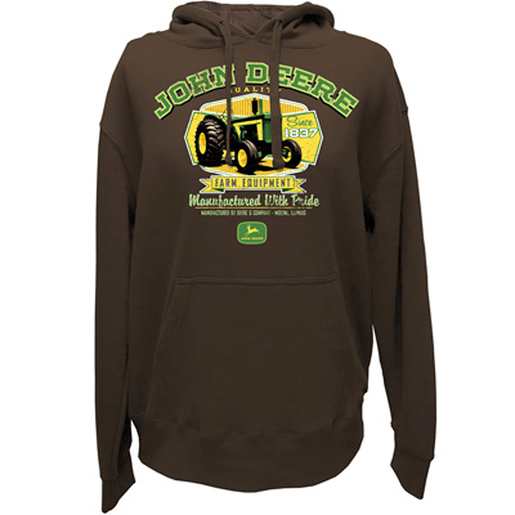 Mens 'Manufactured With Pride' Hooded Pullover in Brown