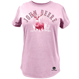 John Deere Women's Short Sleeve Tee In Pink With Deer