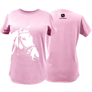 Women's Pink Jersey Tee with White Horse Head Print