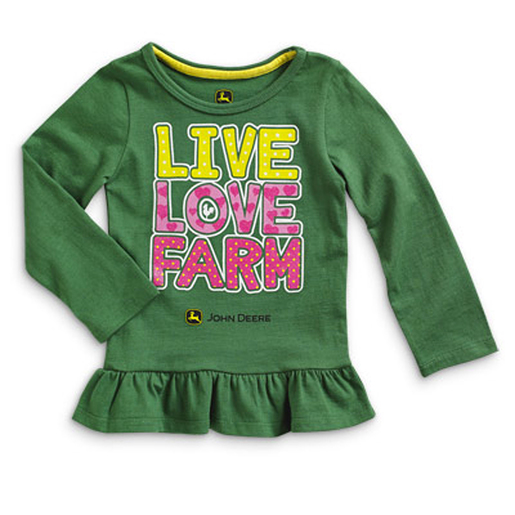 John Deere Toddler Live, Love Farm Girls Long Sleeve Tunic