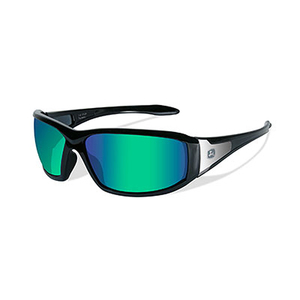 Avert-X Safety Sunglasses GrnBlk Green Sapphire Mirror Lens / Gloss Black Frame