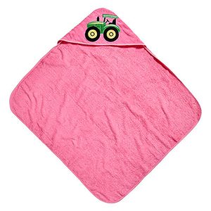 Pink Tractor Hooded Towel