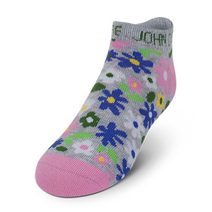 Youth Girls Gray Floral Ankle Sock