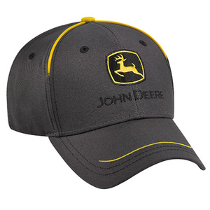 Men's Charcoal Grey Construction Cap With Yellow Piping