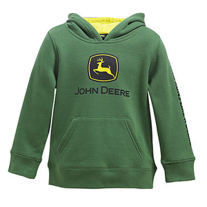 Boys John Deere Green Pull Over Fleece With Hood