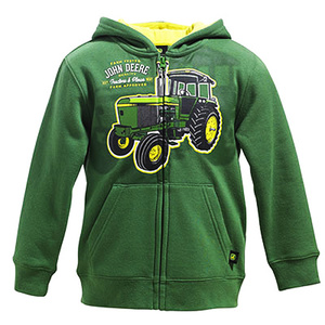 Boys Tractors And Plows Zip Hooded Fleece