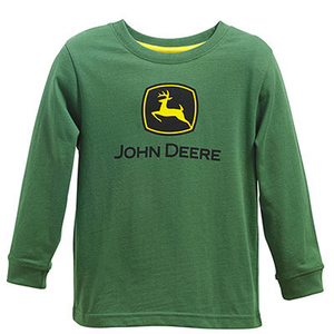 Youth Boys Long Sleeve Green Logo T-Shirt