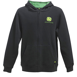 Youth Boys Black Hooded Zip Up Fleece Jacket