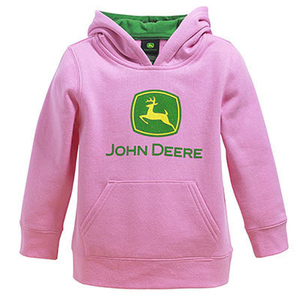 Girls Hooded Pink Pullover Fleece
