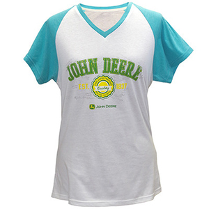 Women's White And Turquoise V-Neck Raglan T-Shirt