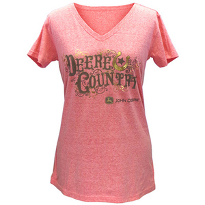 Women's V-Neck Sunset Dyed Deere Country T-Shirt