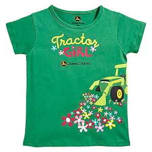 Green Tractor Girl T-Shirt