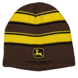 Yellow and Brown Striped Beanie With Construction Logo