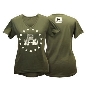 Women's Olive Stars & Tractor Tee