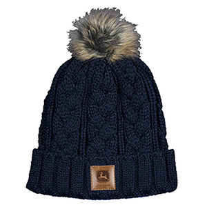 Womens Navy Cable Knit Beanie
