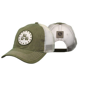 Olive and White Mesh Tractor Cap