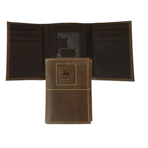 Crazy Horse Embossed Tri-Fold Wallet