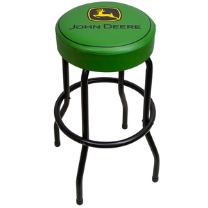 Green Garage Stool with Matte Black Legs
