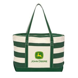 Two Tone Stripe John Deere Canvas Tote