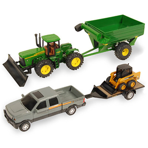 8 In. Mega Hauling 5-Piece Set - Tractor, Wagon, Pickup, Skidsteer & Trailer