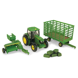 1/64 6210 John Deere Tractor With Baler and Wagon